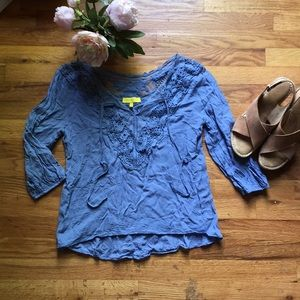 Cornflower Blue lace and crocheted 3/4 Blouse